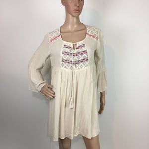 Flying Tomato embroidered bell slv tunic dress S